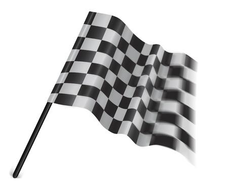 cuadros blanco y negro: Bandera de automovilismo aislada sobre fondo blanco Foto de archivo