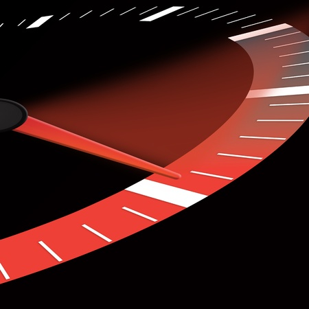 max: a speedometer or speed dial showing the neele at maximum power Stock Photo