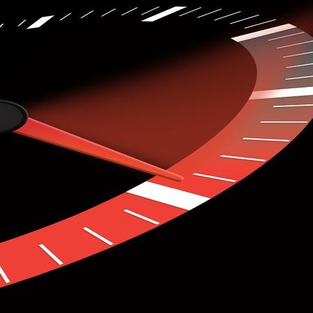speedometer: quadrante tachimetro o velocit� che mostra il neele alla massima potenza Archivio Fotografico