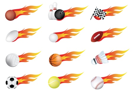 sports balls and flames drawn using gradient mesh Vector