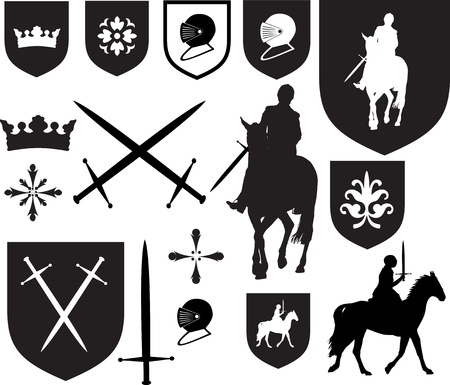 Black silhouette designs, and icons for use in old vintage or antique designs,
