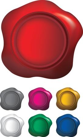 tampon cire: cire color�e sceaux isoalted sur un fond blanc, utilise le gradient mesh.
