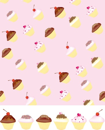 hundreds: Different style of cupcake on a pink background uses gradient mesh Stock Photo