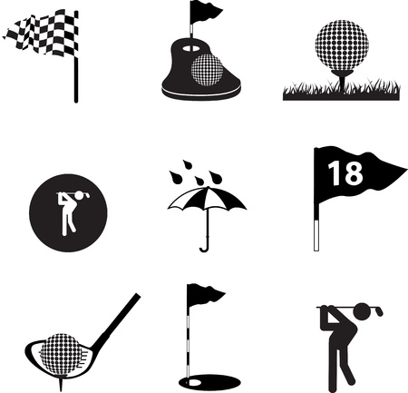 Set of black silhouette icons and symbols on a white background photo