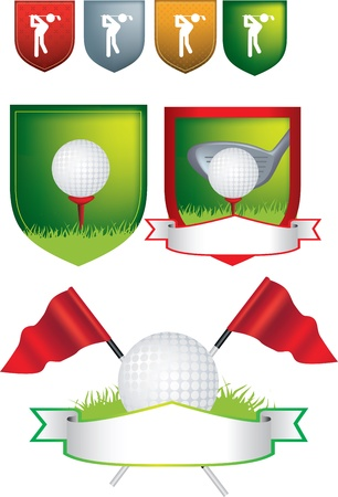 golf flag: Illustration of golf icons, shields and emblems on a white background uses gradient mesh
