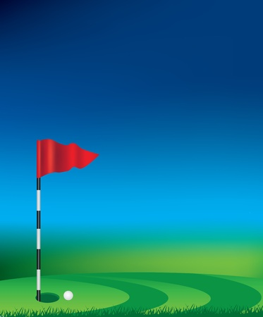 Golf tee and flag with grass and background space uses gradient mesh photo