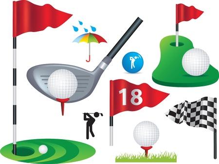 golf drapeau: Balle de golf, des drapeaux et des �l�ments de design golfique certaines filet de d�grad� l'utilisation Banque d'images