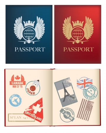 canada stamp: otside and iside pages of a red and blue passport with stamps, uses gradient mesh