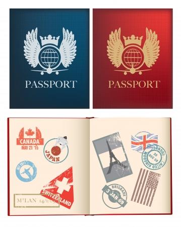 passaporto: otside Iside e le pagine di un passaporto rosso e blu con timbri, utilizza gradiente maglie