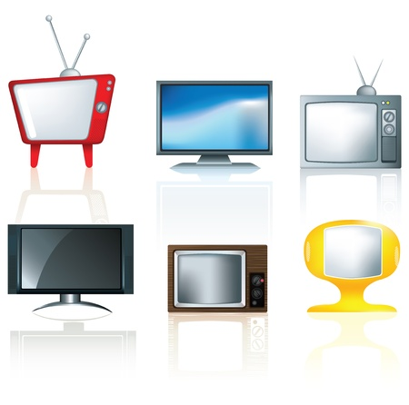 diferent: illustration of a set of diferent types of tv on a white background uses gradient mesh