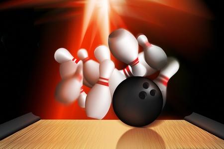 crashing: illustration using vector and 3d of a bowling ball crashing into a set of pins Stock Photo