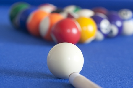 cue ready to play a game of pool and begin game Stock Photo - 11849993