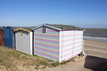 walton sea front in essex looking across the beach from beach huts photo