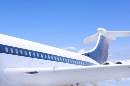airbus style aeroplane flying against a blue sky Stock Photo - 12173937