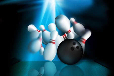 strike: blue neon light effect against ten in bowling strike out