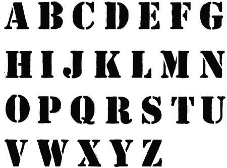 Banksy style grafitti stencil lettering whole alphabet Illustration