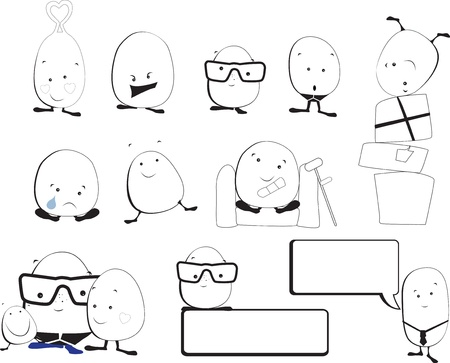 different emotions dhown by a series of cute kawaii style monsters Stock Vector - 21396658