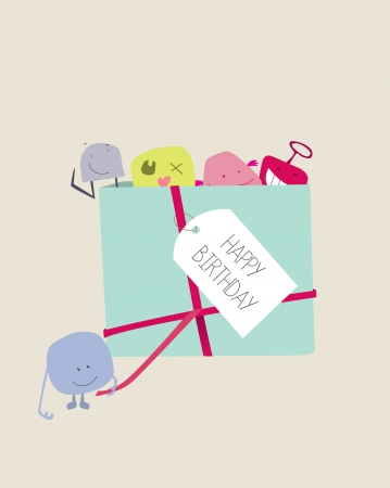 a selection of cute cheeky ugly doll style monsters in a birthday gift Vector