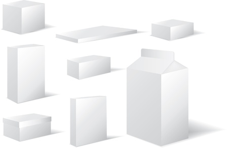 milk carton: packaging in white card in different square and rectangel shapes inc milk carton