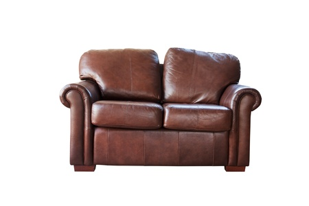 brown leather sofa cut out on white photo