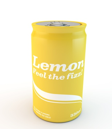 fizzy: can of yellow lemon fizzy drink isolated on a white background