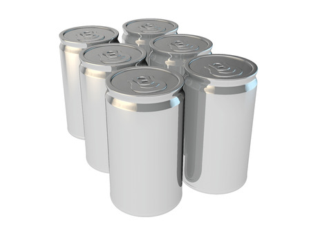 6 pack beer: blank packaging 3d render of drinking soda or beer cans Stock Photo