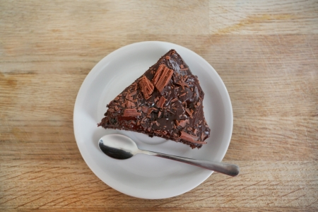 top down: looking down onto a moist delicious chocolate cake Stock Photo