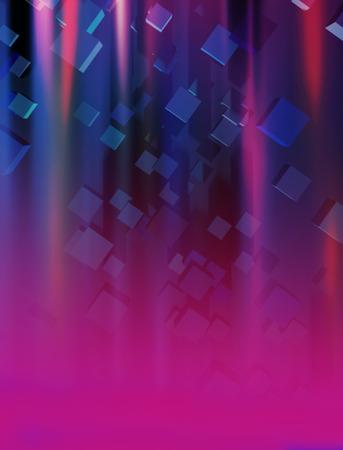 lineas rectas: 3d cubos y luces de neón abstractos fondo de la composición Foto de archivo