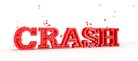 disintegrate: bright red text or word reprtesenting crash shattering into pieces Stock Photo