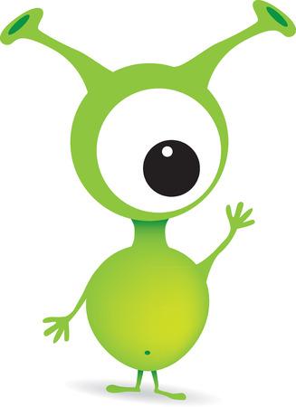 animated alien: vector illustration of a one eyed alien Illustration