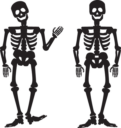 one skeleton is waving and one standing