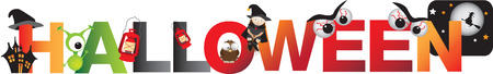 fun halloween alphabet message and cartoon characters Stock Vector - 26709340