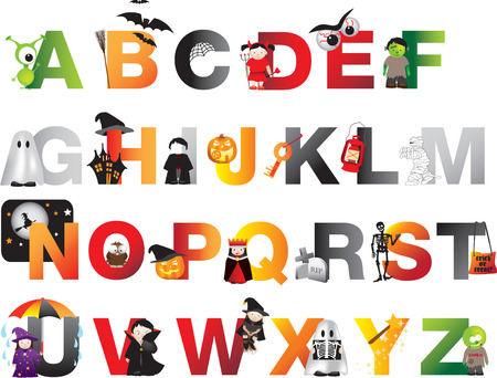 a to z of spooky horror childrens alphabet Ilustrace