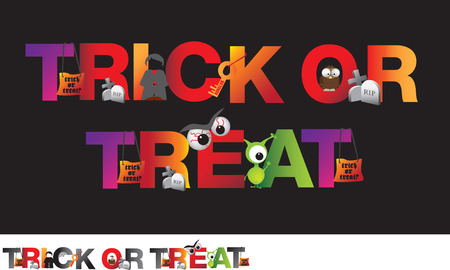ou: different alphabet of halloween spelling ou the word trick or treat Illustration
