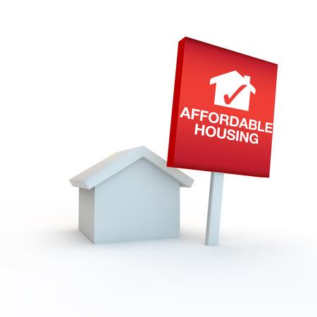 icoon om betaalbare woningen met huis en teken vertegenwoordigen Stockfoto