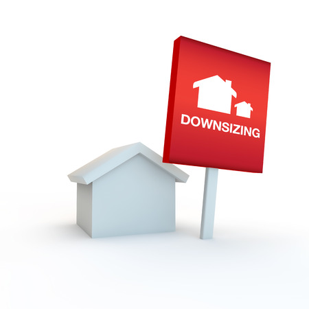 red sign on a white background with house concept of downsizing Banco de Imagens
