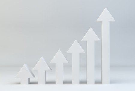 population growth: direction upwards for arrows symbolising progress Stock Photo