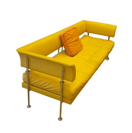 mid century: mid century yellow contemporary sofa Stock Photo