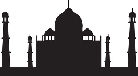 taj mahal: black silhouette of taj mahal