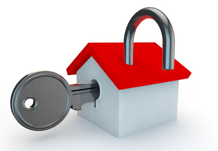 safe house: 3d render of a key unlocking a home