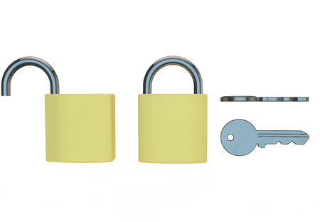open and closed padlock 3d render photo