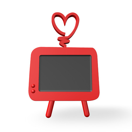 television aerial: 3d render of a fun cartoon style tv with a heart for an aerial