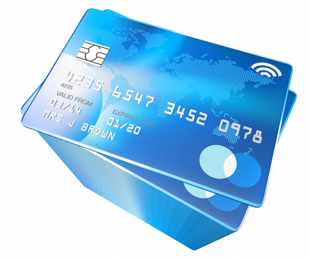 contactless: credit card with world map and microchip and contactless payment icon Stock Photo