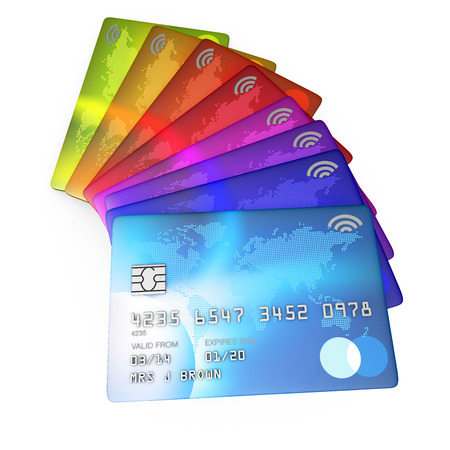 fanned: 3d render of brightly coloured credit cards cut out on a white background