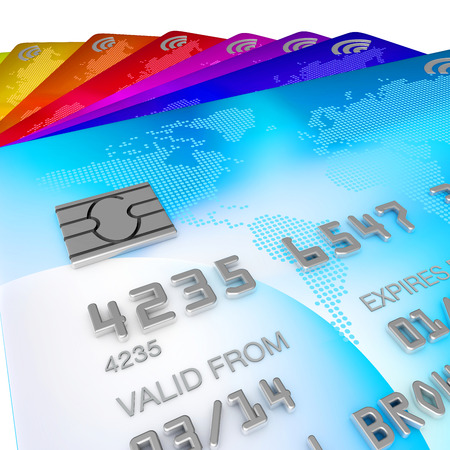 fanned: brightly coloured, blue, red, orange, yellow, pink and purple and green 3d renders of credits cards fanned out on a white background, close up