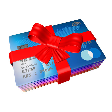 rob wrapped arounf credit cards like a present, 3d render on a white background photo