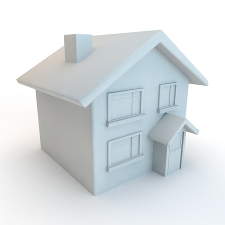 front porch: white 3d house cut out on a white background viewed from above