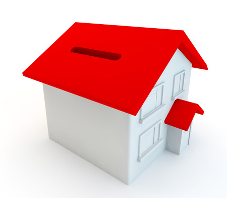 front porch: moneybox house cut out on a white background