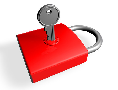 3d render of a key in a red padlock isolated on a white background photo
