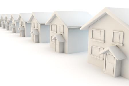 3D render van een lijn van identieke huizen in een rij op een straat op een witte achtergrond Stockfoto